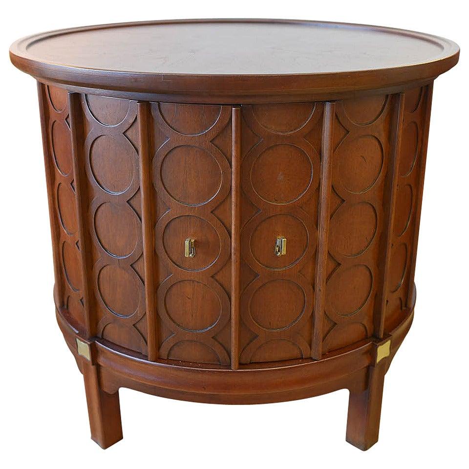 Walnut and Brass Circular Drum Cabinet at 1stdibs
