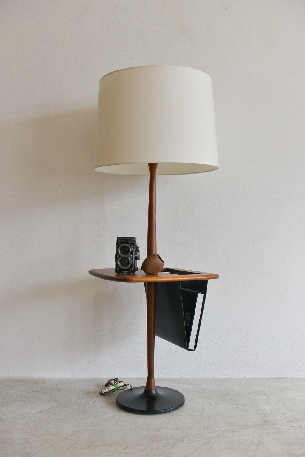Walnut lamp with leather magazine holder at 1stdibs walnut lamp with leather magazine holder 2 geotapseo Image collections