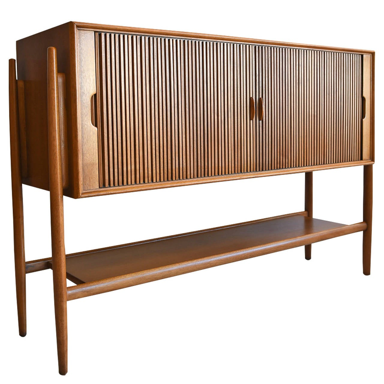 Rare Tambour Door Walnut Credenza By Barney Flagg At 1stdibs
