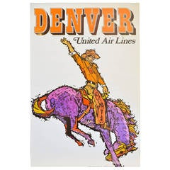 Vintage United Airlines Travel Poster Denver by Jebary