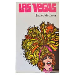 Vintage United Airlines Travel Poster for Las Vegas by Jebary