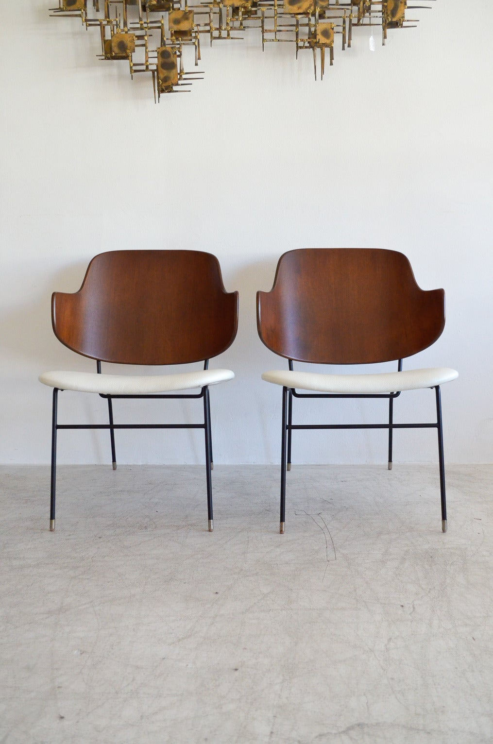This sculptural pair of lounge chairs by ib kofod larsen is no longer - Rare Pair Of I B Kofod Larsen Penguin Lounge Chairs 3