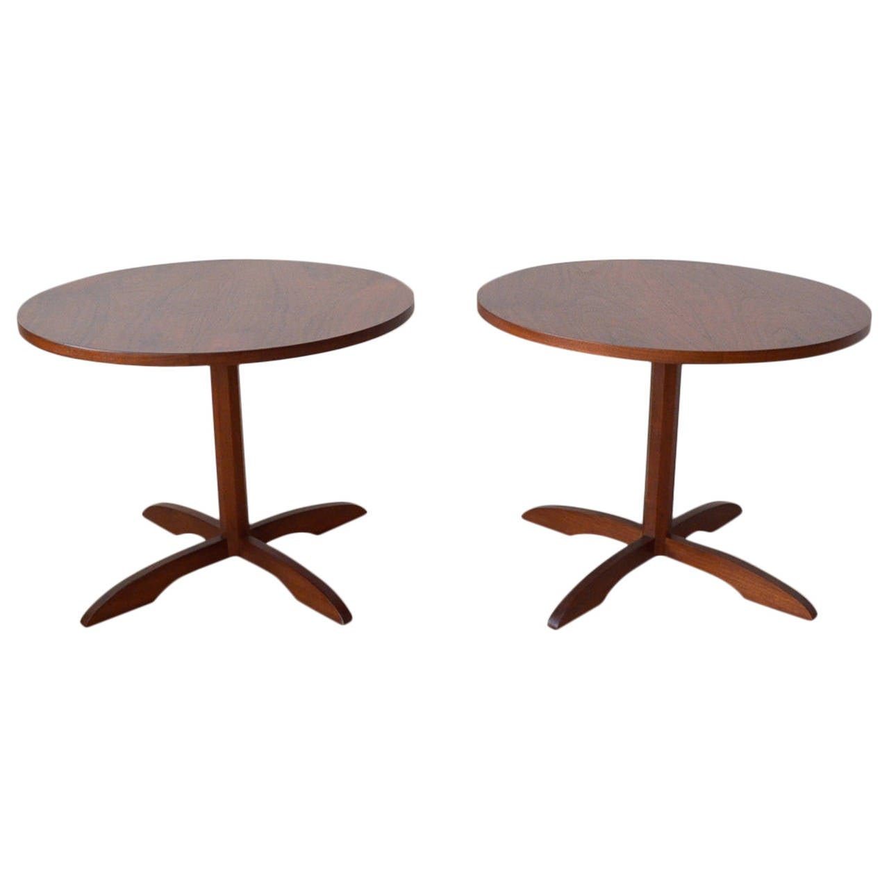 Pair of Walnut Pedestal Base Side Tables