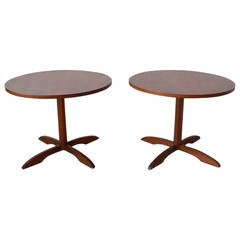 Pair of Walnut Pedestal Base Side Tables