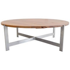 Round Wood Coffee Table with Aluminum X Base