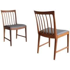 Pair Of Walnut Slat Back Chairs By Mm Moreddi Sweden