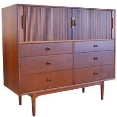 Exceptional Tambour Door Walnut Highboy Dresser by Kipp Stewart
