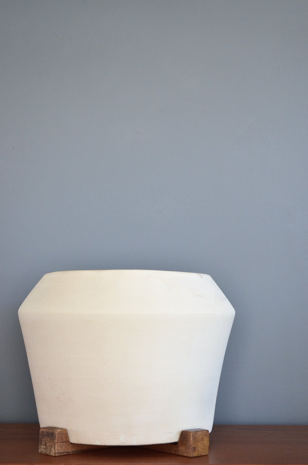 Bisque Planter With Wooden Base At 1stdibs