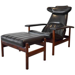 Rare Rosewood Lounge Chair and Ottoman by Sven Ivar Dysthe