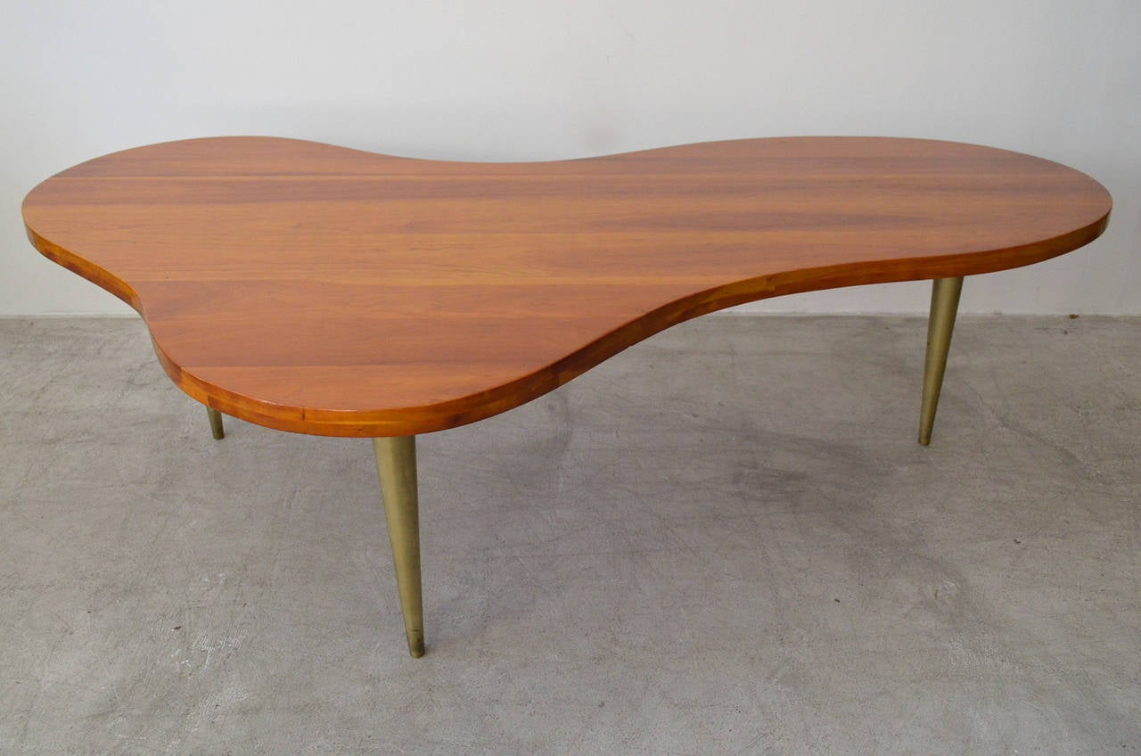 TH RobsjohnGibbings Maple and Brass Biomorphic Coffee Table at