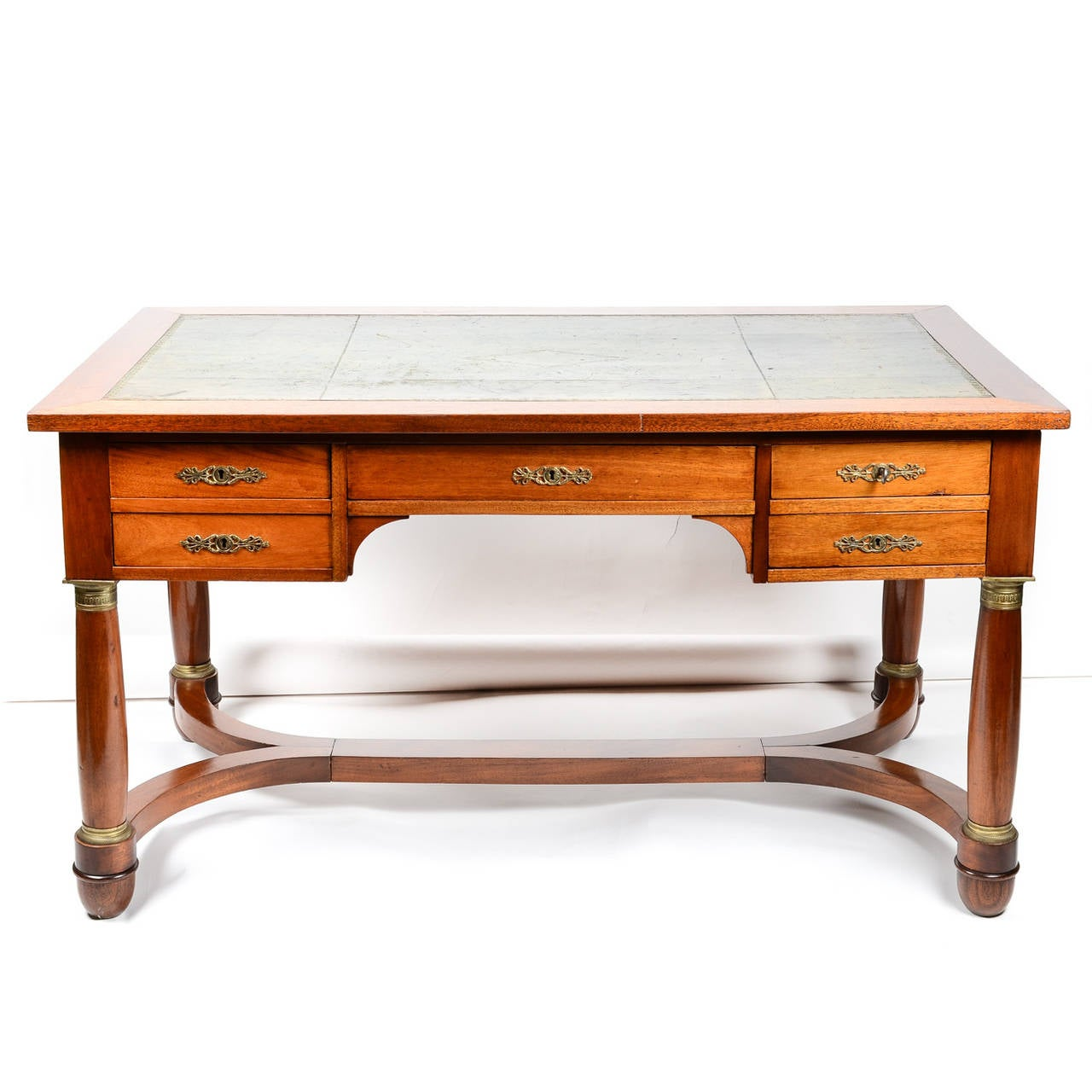 French Mahogany Desk With Chair In The Empire Style At 1stdibs