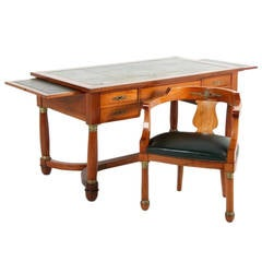 French Mahogany Desk with Chair in the Empire Style