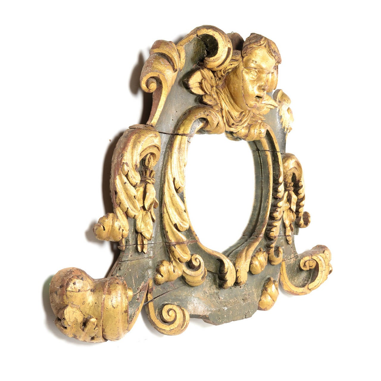 French Hand Painted Italian Baroque Mirror Circa 1700 from Paris.  For Sale