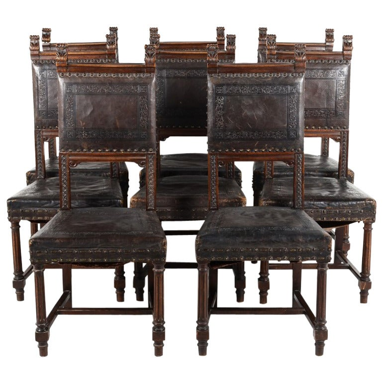 Twelve Matching French Antique Hand Tooled Leather Dining Chairs, circa  1880 For Sale - Twelve Matching French Antique Hand Tooled Leather Dining Chairs