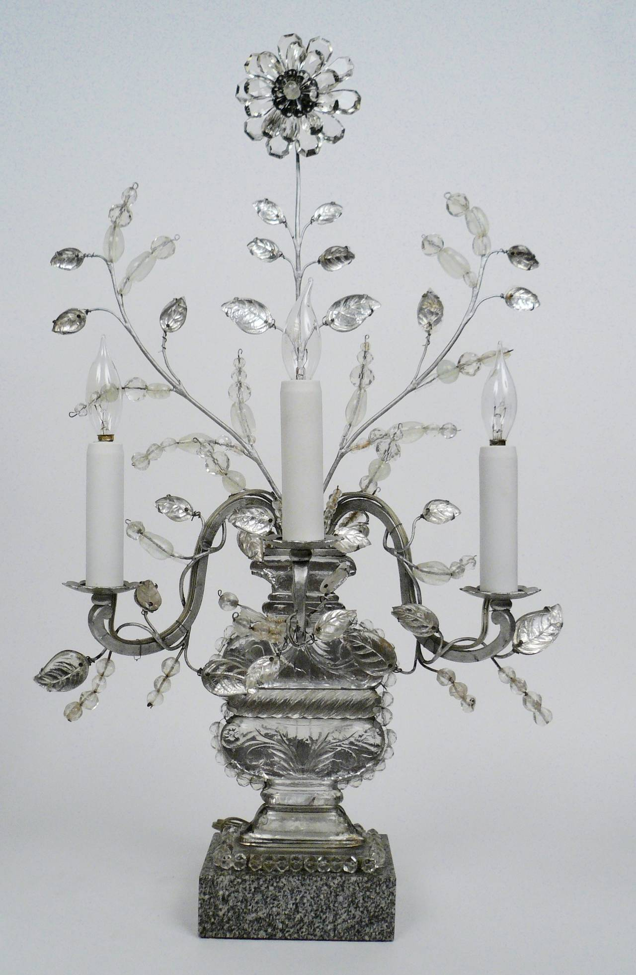 Belle Époque Pair of Baguès Three-Light Candelabra, Early 20th Century For Sale