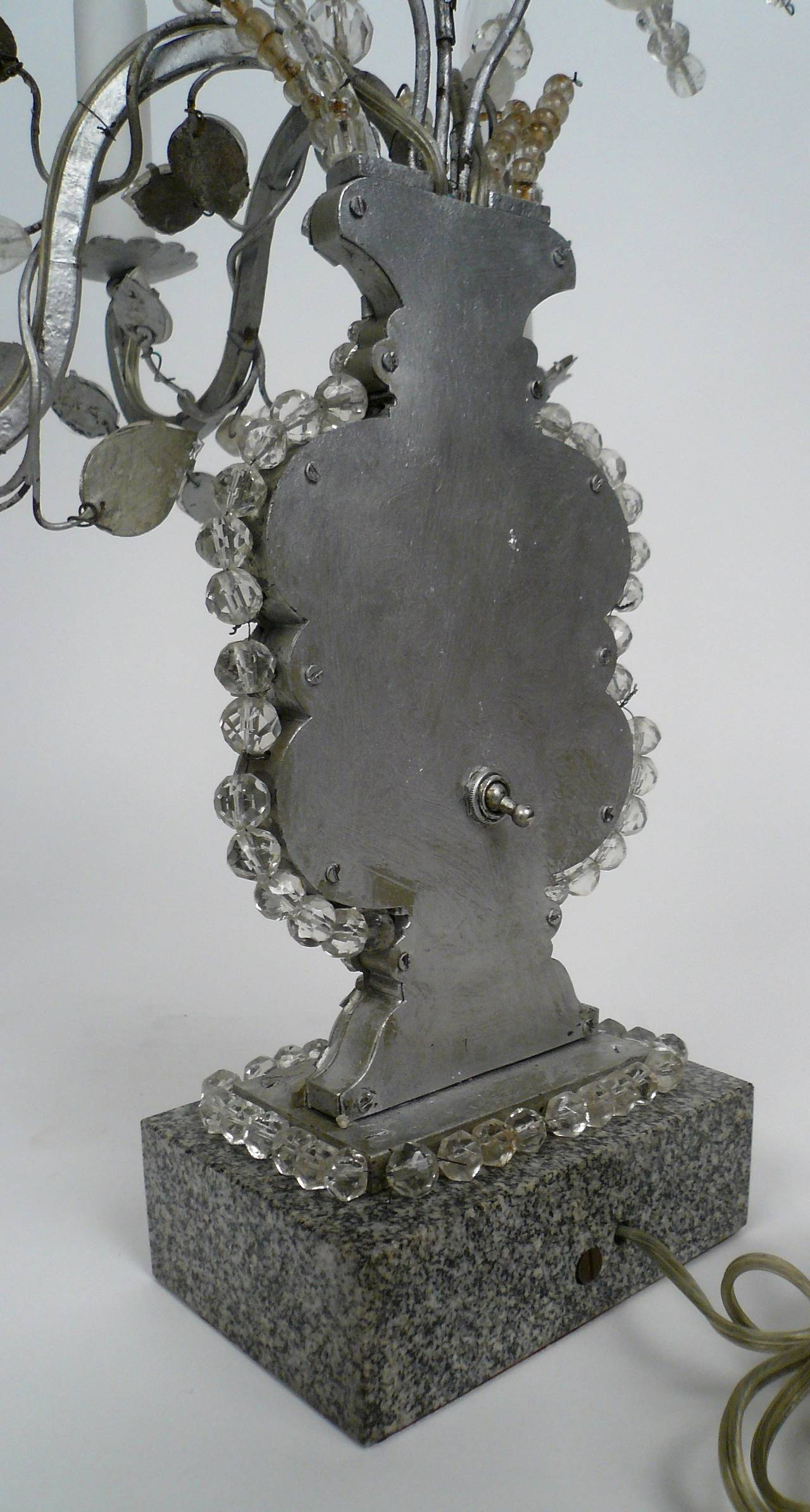 Metal Pair of Baguès Three-Light Candelabra, Early 20th Century For Sale