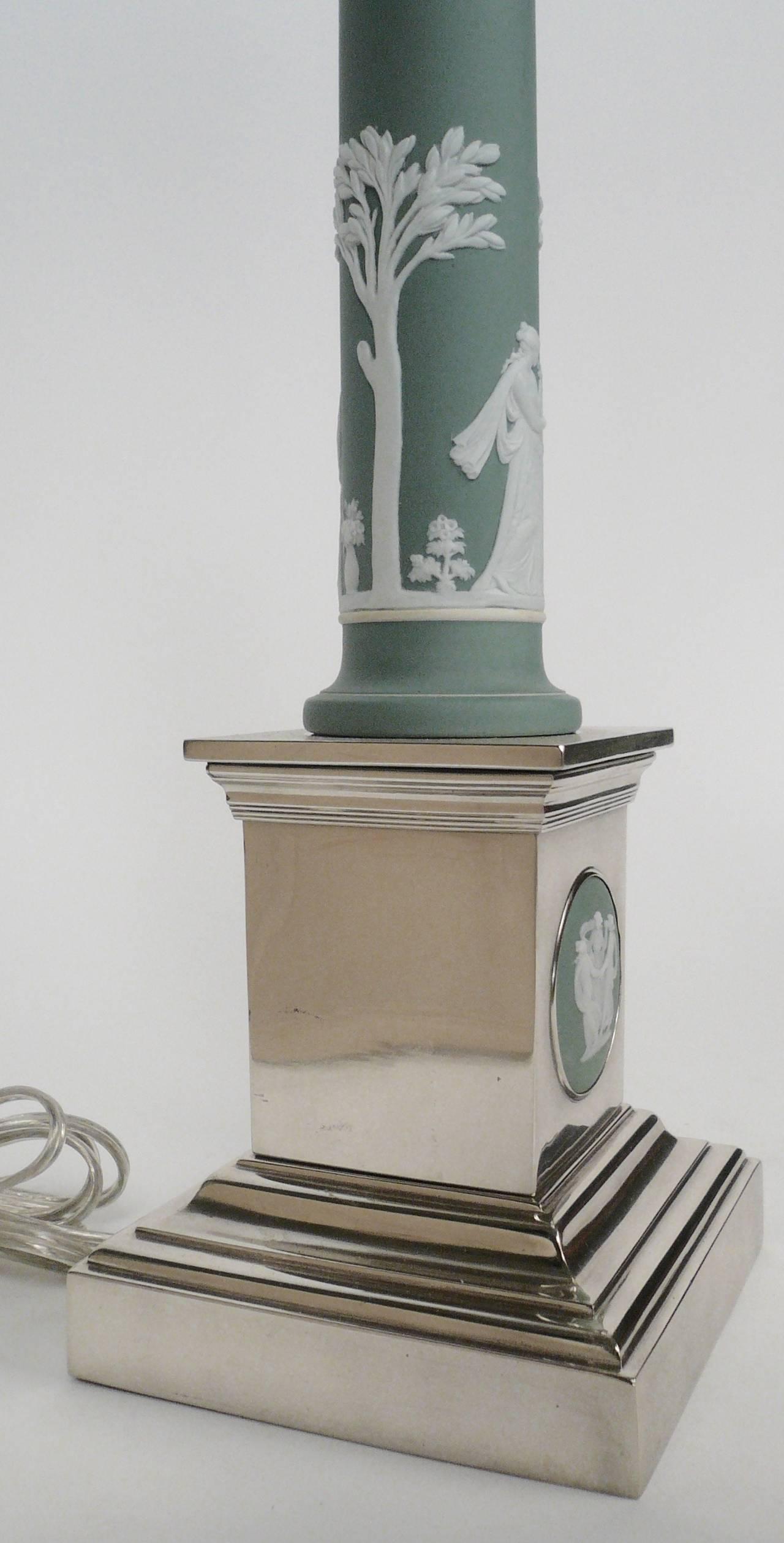 Wedgwood Jasperware And Silver Columnar Lamp At 1stdibs