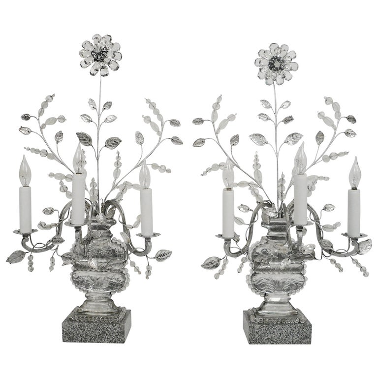 Pair of Baguès Three-Light Candelabra, Early 20th Century For Sale