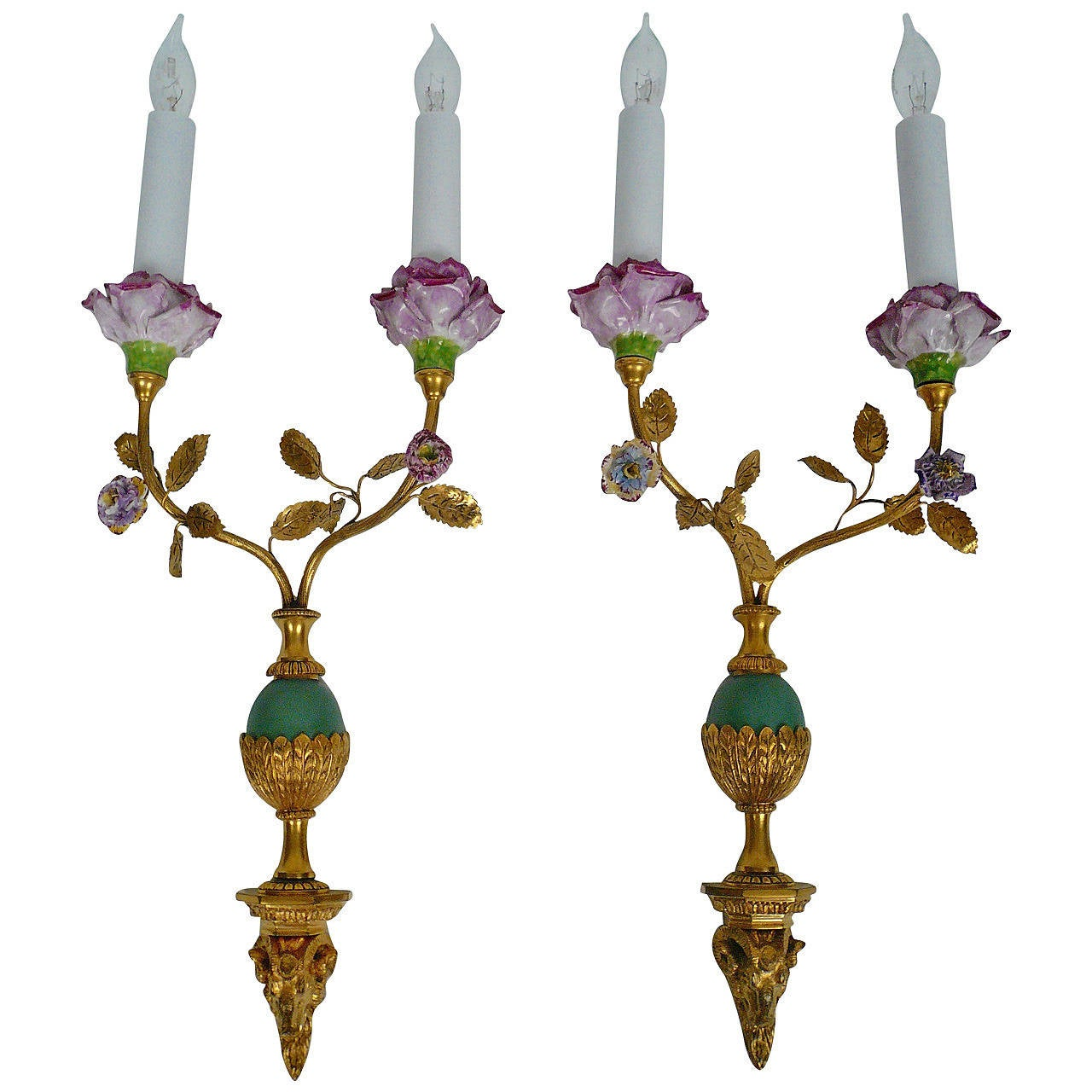 Pair of Edward F. Caldwell Bronze and Porcelain Sconces
