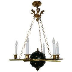 E.F. Caldwell Empire Style Gilt and Patinated Bronze Six-Light Chandelier