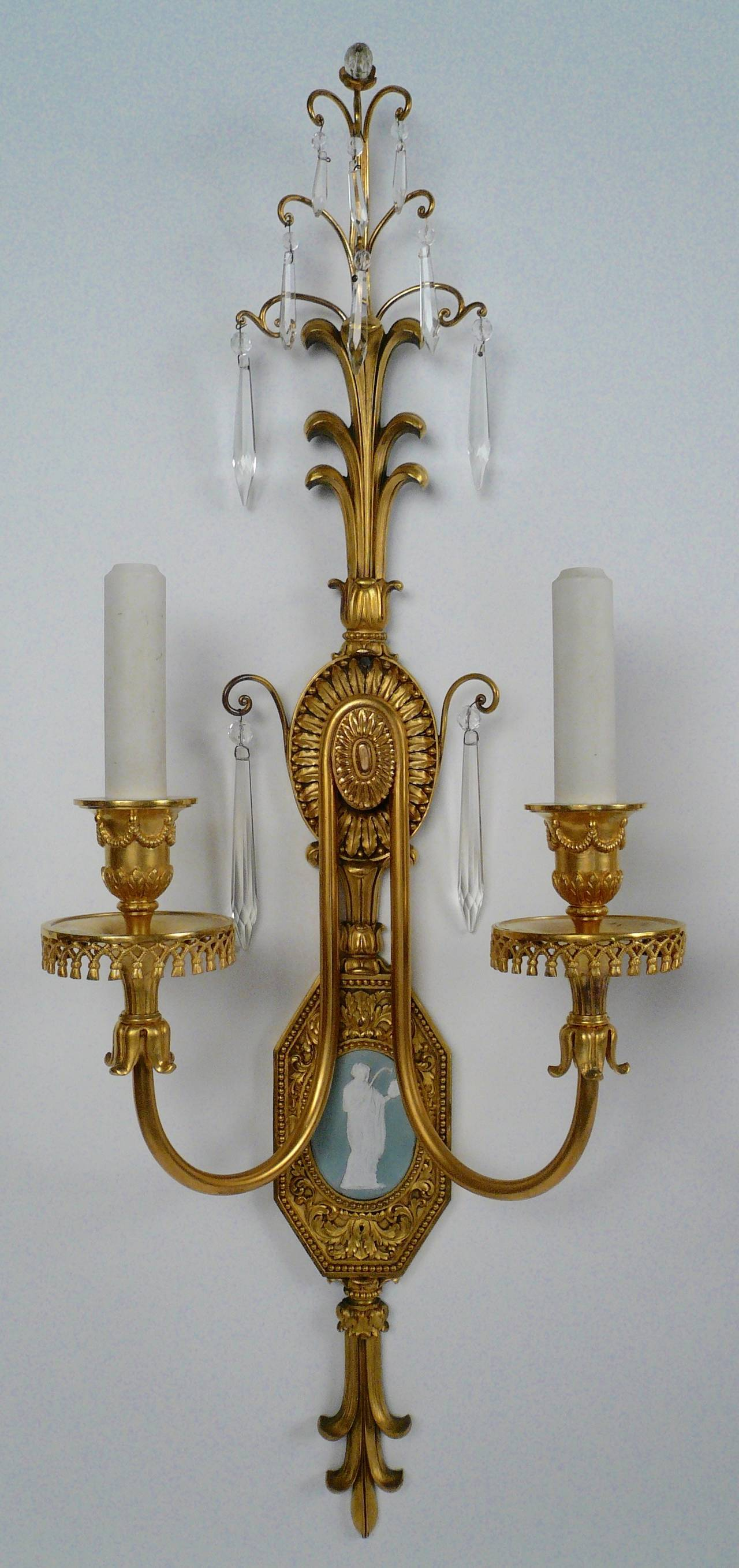 American Pair of Adam Style Gilt Bronze Sconces with Enamel Plaques, by E.F. Caldwell For Sale