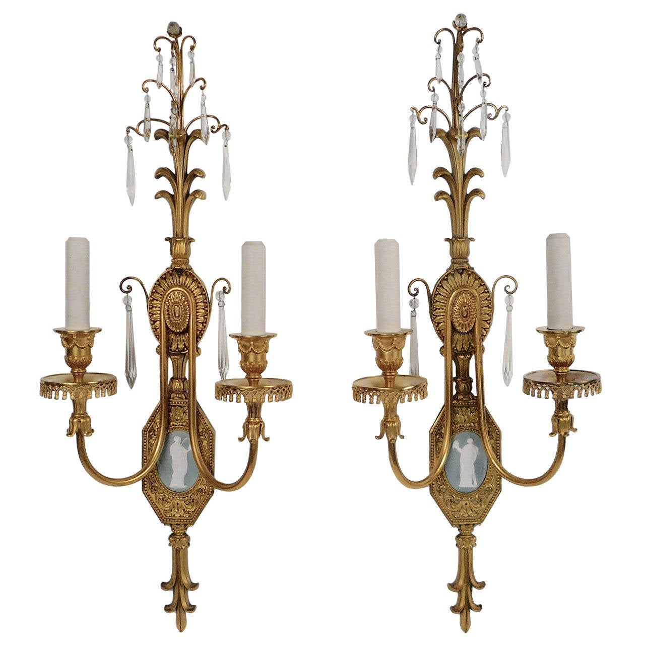 Pair of Adam Style Gilt Bronze Sconces with Enamel Plaques, by E.F. Caldwell For Sale