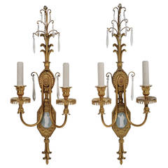 Pair of Adam Style Gilt Bronze Sconces with Enamel Plaques, by E.F. Caldwell