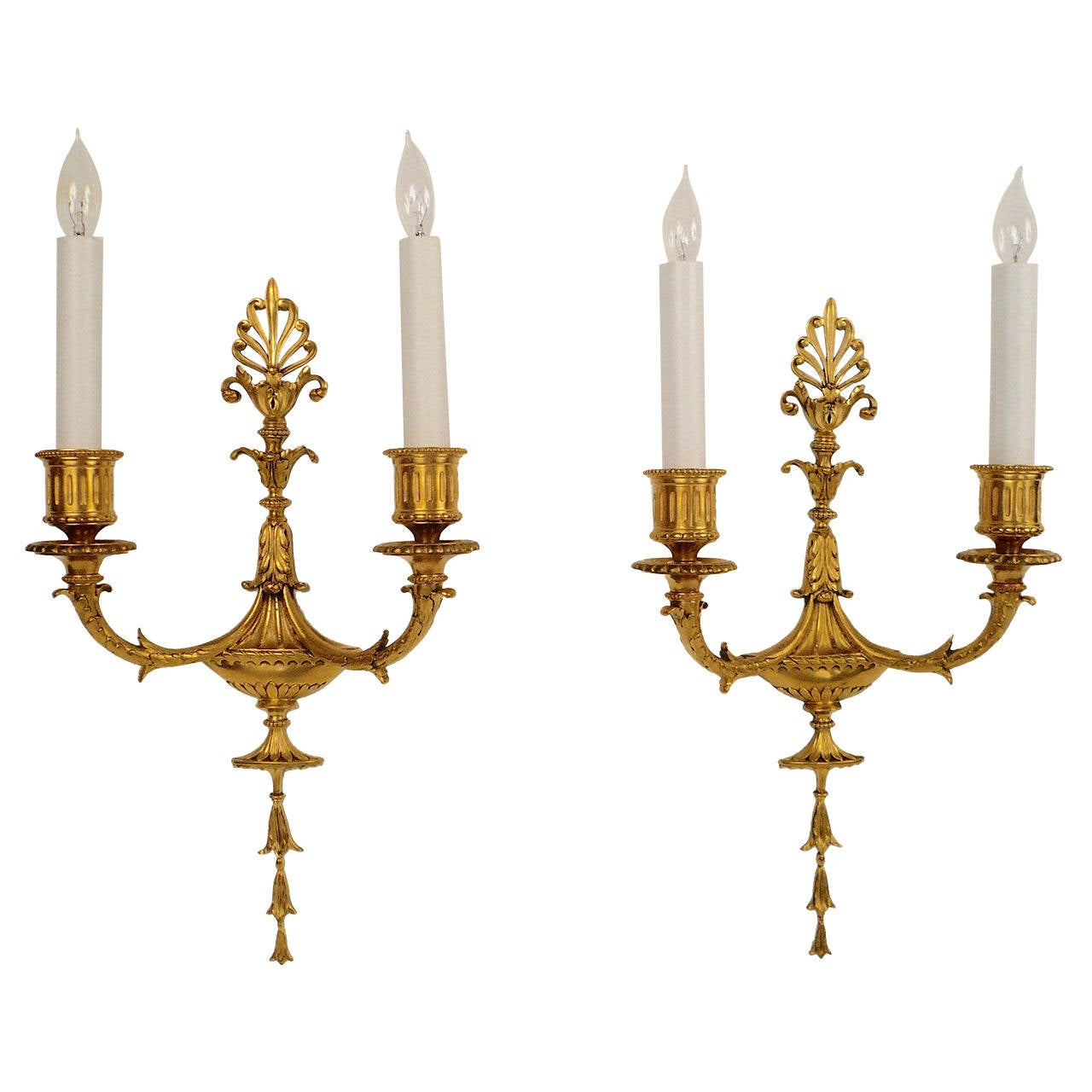 Pair of Adam Style Two-Light Gilt Bronze Sconces by E.F. Caldwell