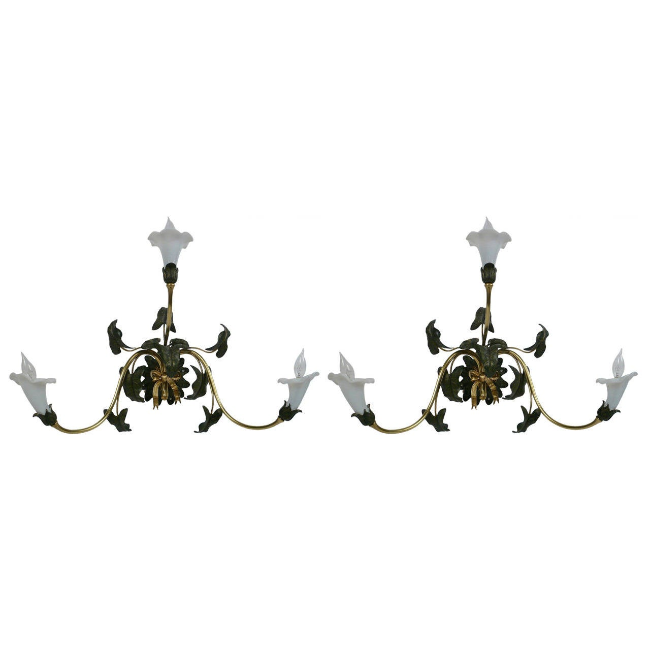 Pair of 19th Century English Brass and Opaline Glass Floral Sconces