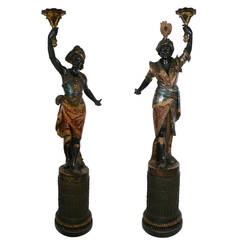 Pair of 19th Century Venetian Carved and Polychromed Wood Blackamoors