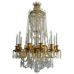 Gilt Bronze and Cut Crystal Twelve-Light Chandelier by E. F. Caldwell