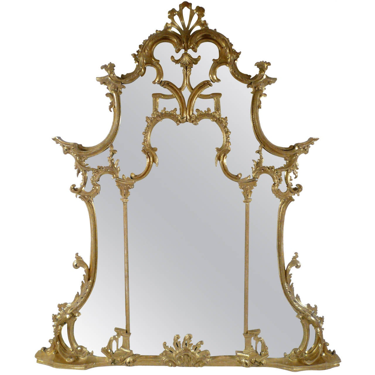 Chinese chippendale style carved and giltwood mirror at for Asian style mirror