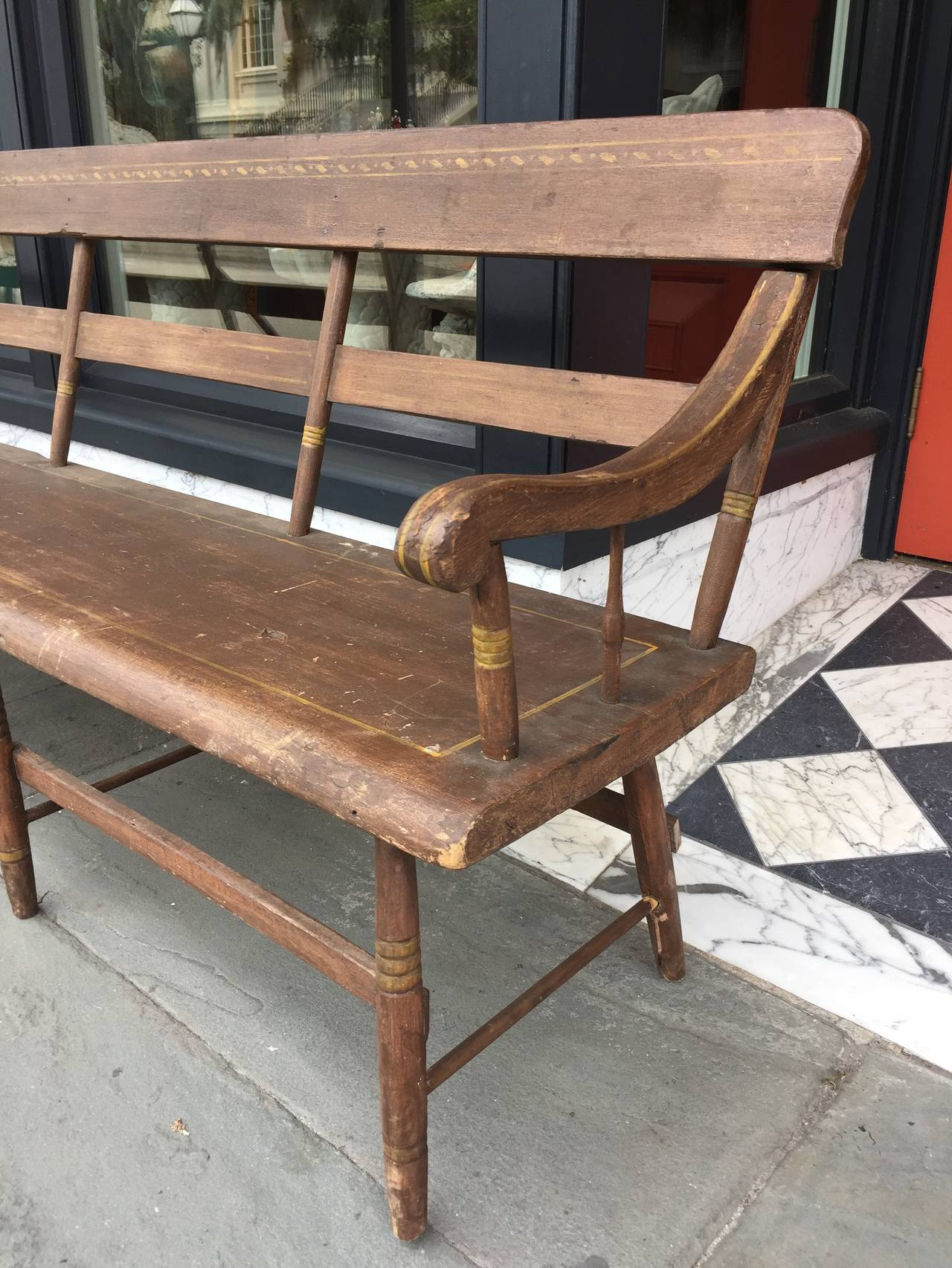 American Faux Painted Hall Bench For Sale At 1stdibs