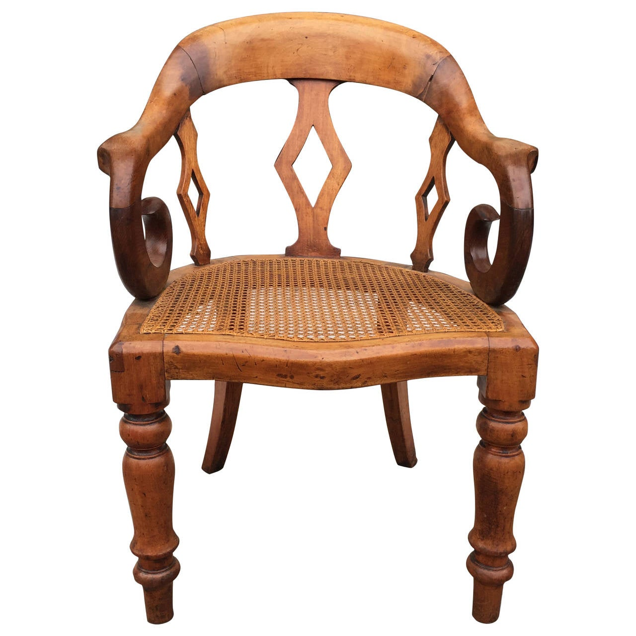 19th century English walnut with cane bottom arm chair at  : 3100172l from www.1stdibs.com size 1280 x 1280 jpeg 138kB