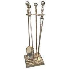 19th Century English Silver Plated Fire Tool Set