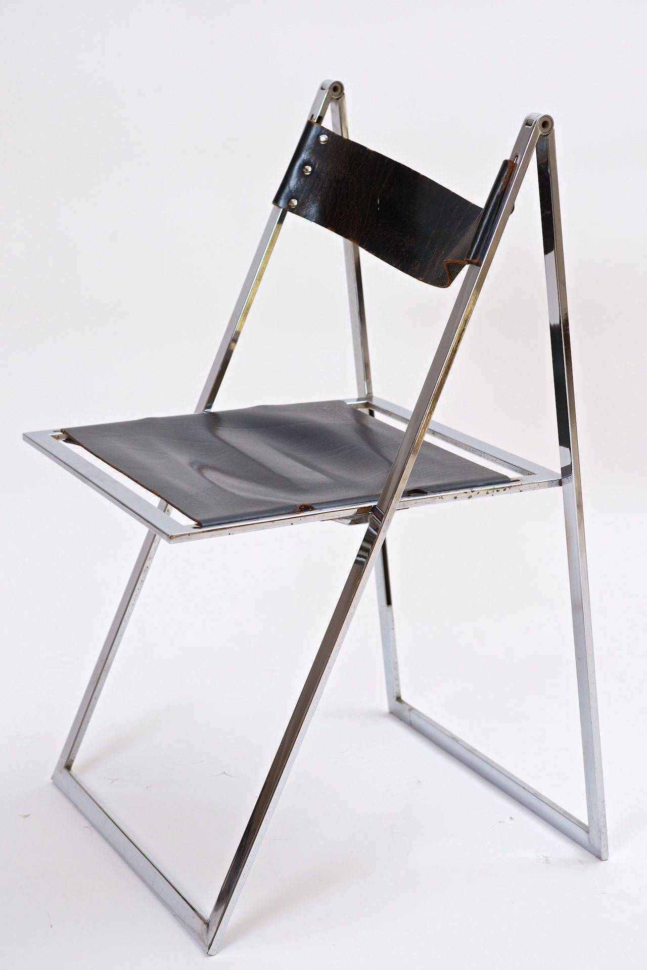 Italian Chrome And Leather Folding Chairs For
