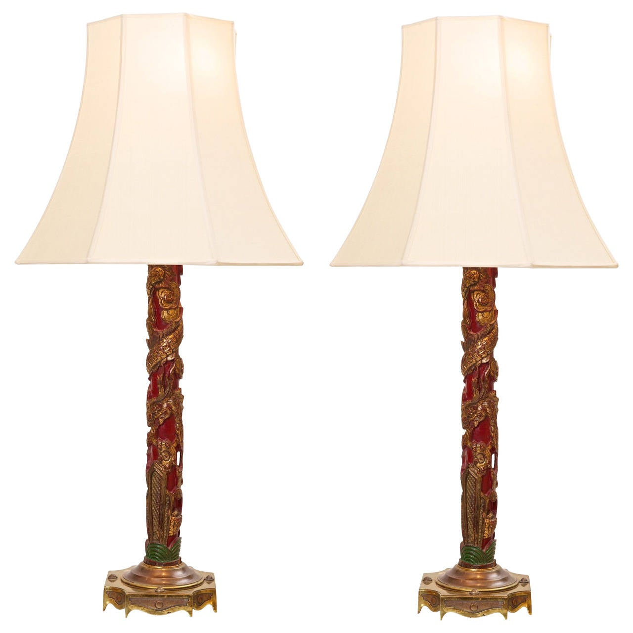 Pair Of Chinoiserie Lamps With Silk Shades At 1stdibs