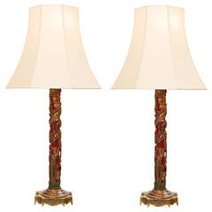 Pair of Chinoiserie Lamps with silk shades