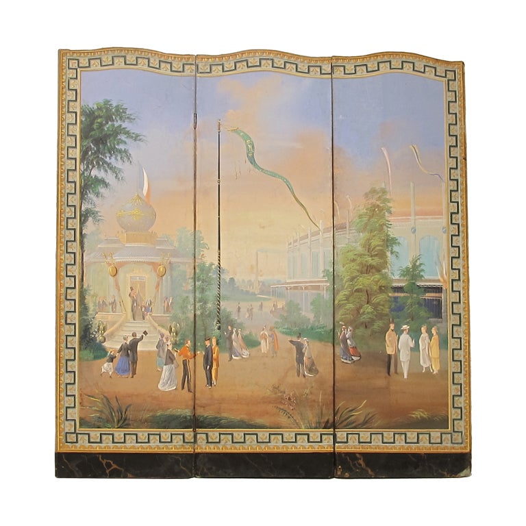 Hand-Painted Folding Screen of Worlds Fair Exposition Scene, French