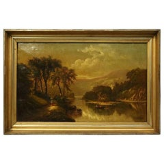 Antique S. P. Dyke Hudson River School Oil on Canvas, Susquehanna River, 1875