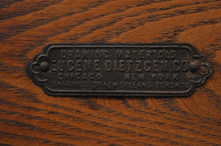 Eugene Dietzgen Cast Iron and Wood Small Drafting Work Table Desk Tripod Base In Good Condition For Sale In Philadelphia, PA