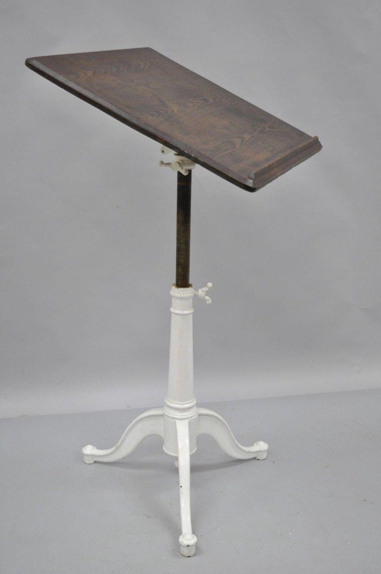 Eugene Dietzgen Cast Iron and Wood Small Drafting Work Table Desk Tripod Base For Sale 5