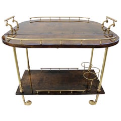Goatskin and Brass Bar Cart