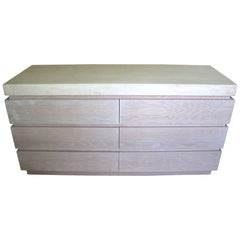 Six-Drawer Chest of Drawers in Cerused Oak with a Stone Top