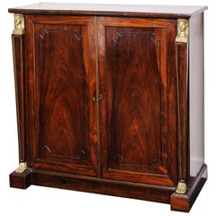 19th Century English Regency, Two-Door Cabinet, Rosewood with Doré Bronze Mount