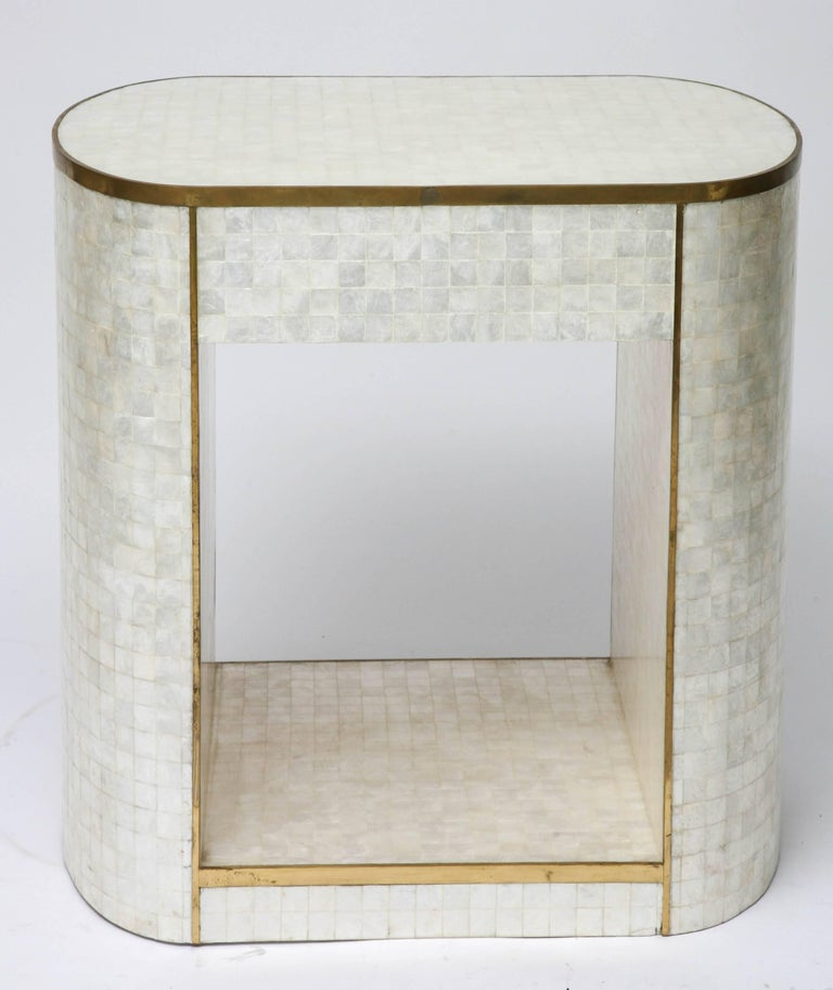 Capiz Shell And Antiqued Brass Cabinet By Platt