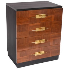 Mid-Century Modern Four-Drawer Chest with Brass Hardware, Italy, 1940s