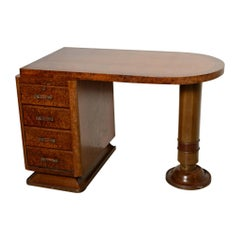 French Art Deco Four-Drawer Pedestal Desk in Ribbon Mahogany and Burl Wood