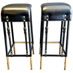 Pair of Jacques Adnet Bar Stools, circa 1950