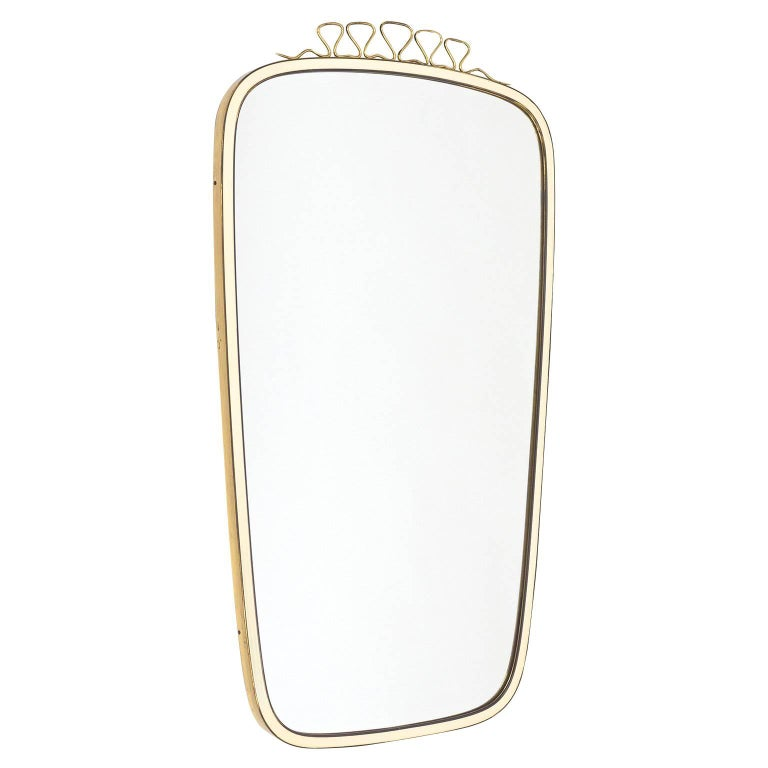 Charming Brass and Enameled Mirror, 1950s